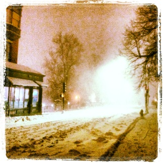 Beacon Street, about eight PM, early in the storm.