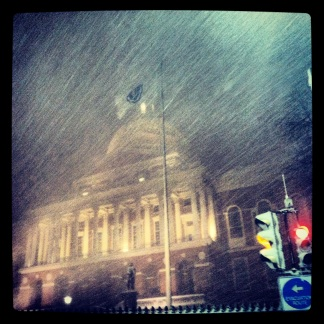 The state house, near midnight.  The winds were painful.