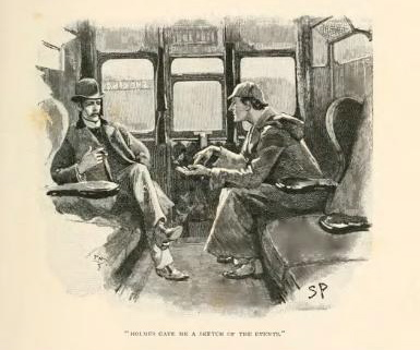 Holmes and Watson discuss the disappearance of Silver Blaze.