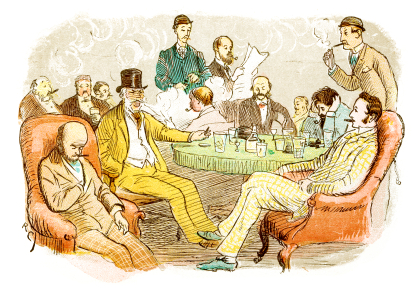 Victorian illustration of a gentleman's club, c. 1880.
